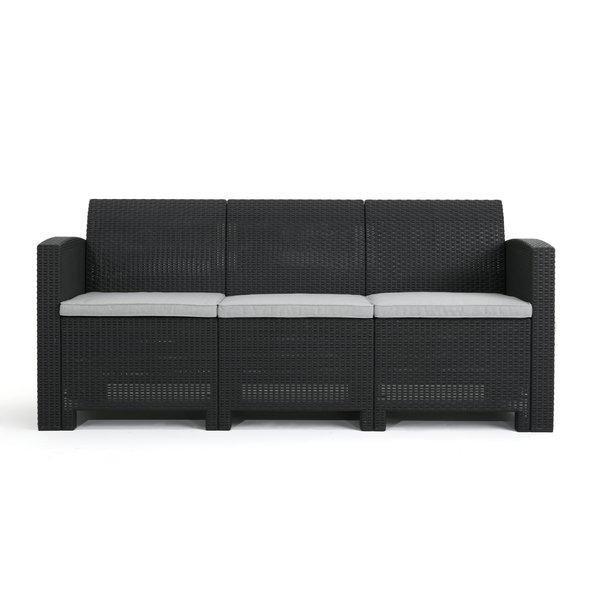 Yoselin Patio Sofa With Cushions With Regard To Recent Stockwell Patio Sofas With Cushions (View 5 of 20)