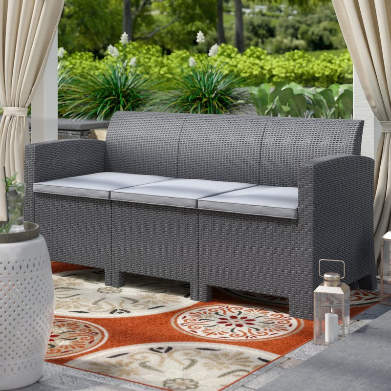 Yoselin Patio Sofa With Cushions Within Most Recently Released Yoselin Patio Sofas With Cushions (View 17 of 20)