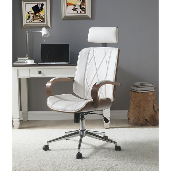 Yoselin Patio Sofas With Cushions Pertaining To Preferred Shop Acme Yoselin Office Chair, White Pu & Walnut – Free (View 18 of 20)
