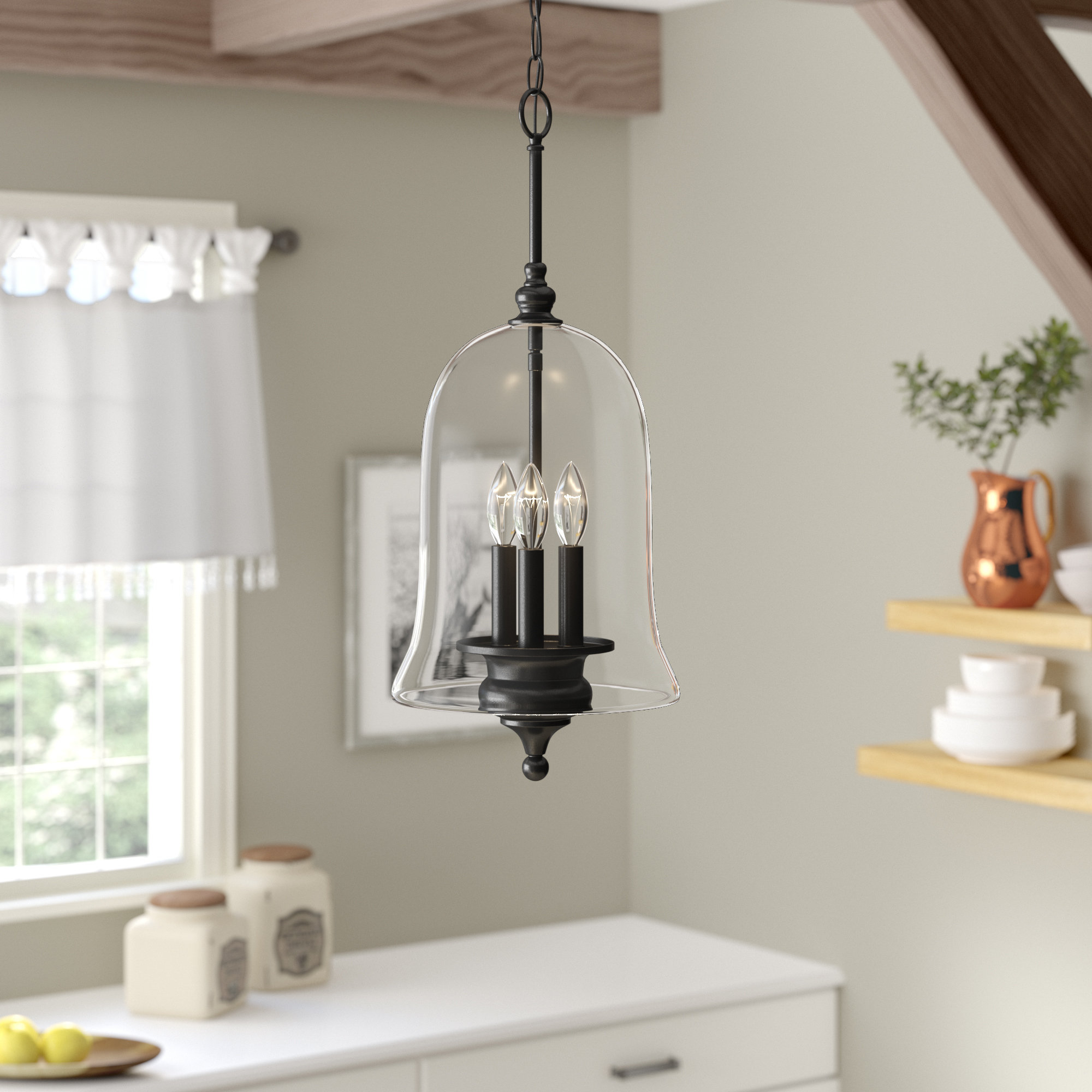 Youngberg 3 Light Single Bell Pendant Throughout Fashionable Dirksen 3 Light Single Cylinder Chandeliers (View 20 of 20)