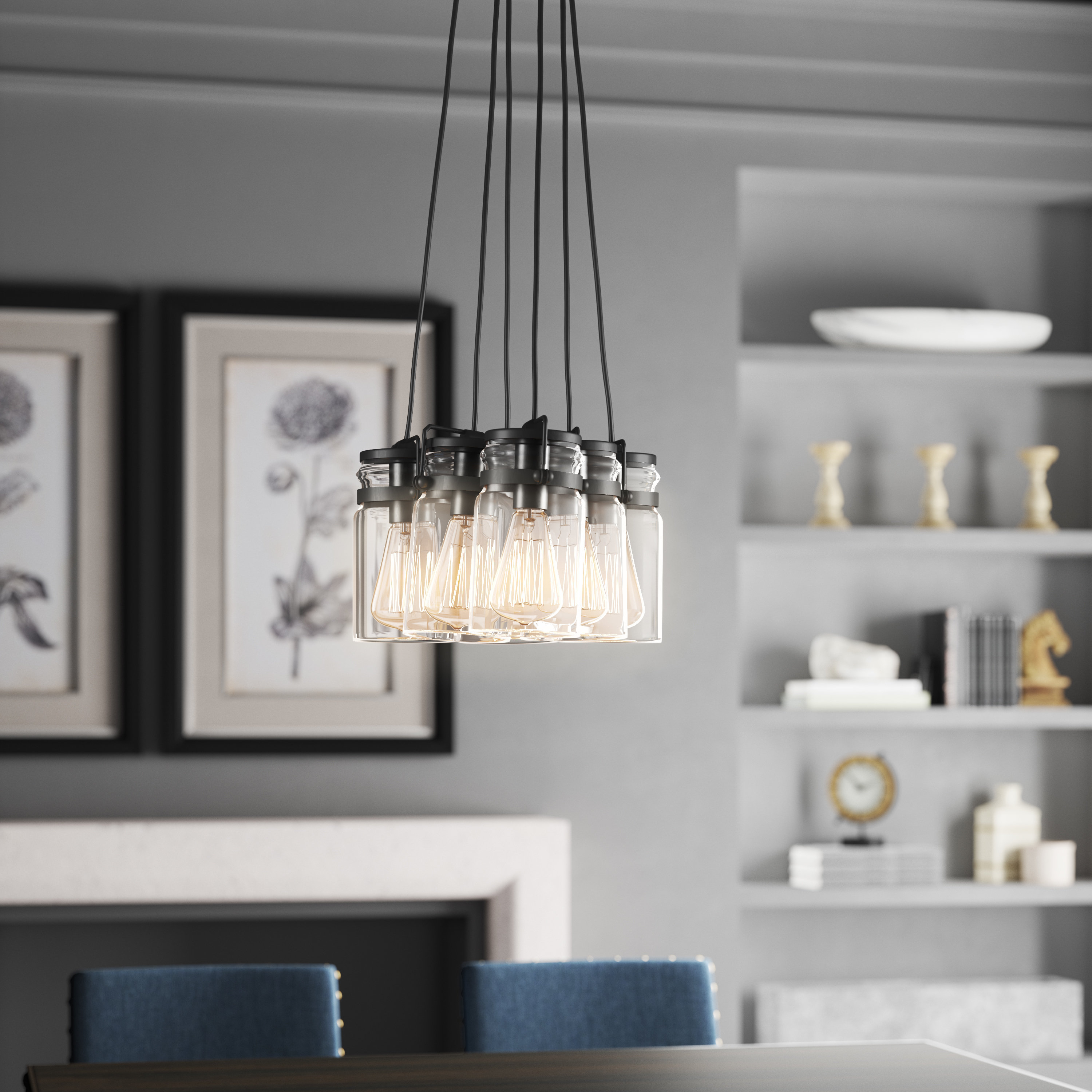 Zachery 5 Light Led Cluster Pendants Within Trendy Sue 6 Light Cluster Pendant (View 20 of 20)