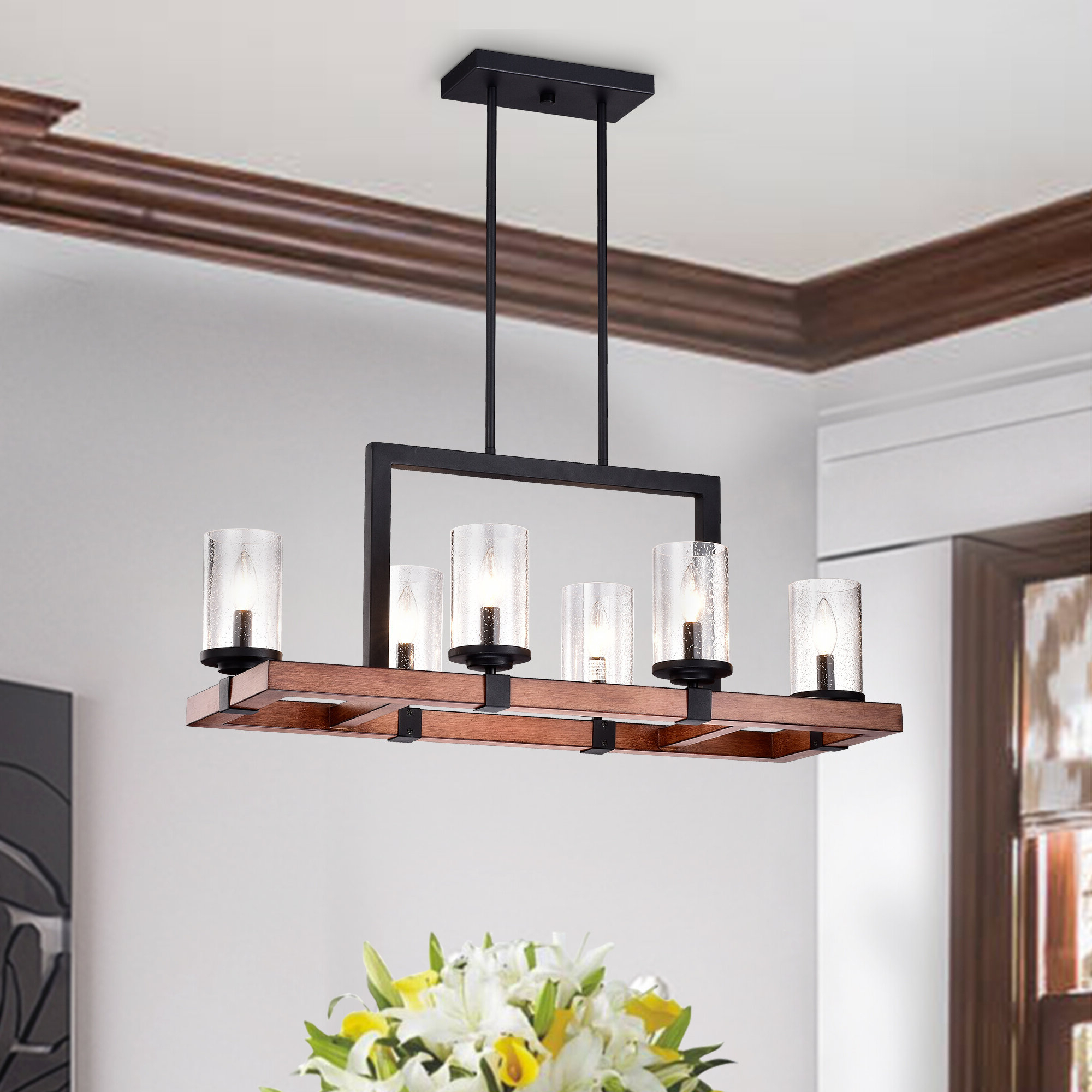 Zion 6 Light Kitchen Island Pendant With Well Known Novogratz Vintage 5 Light Kitchen Island Bulb Pendants (Gallery 15 of 20)