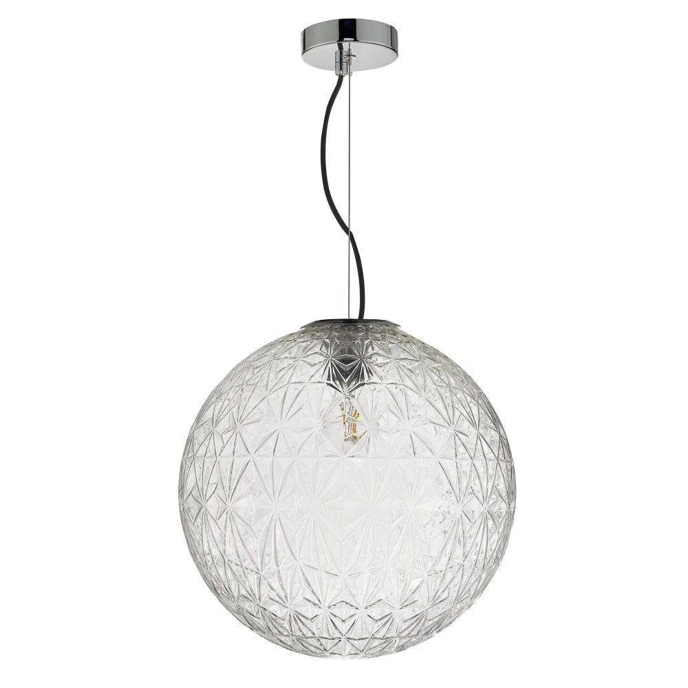 1 Light Geometric Globe Pendants Within Famous Ossian 1 Light Pendant Polished Chrome And Clear Glass Large (View 8 of 20)