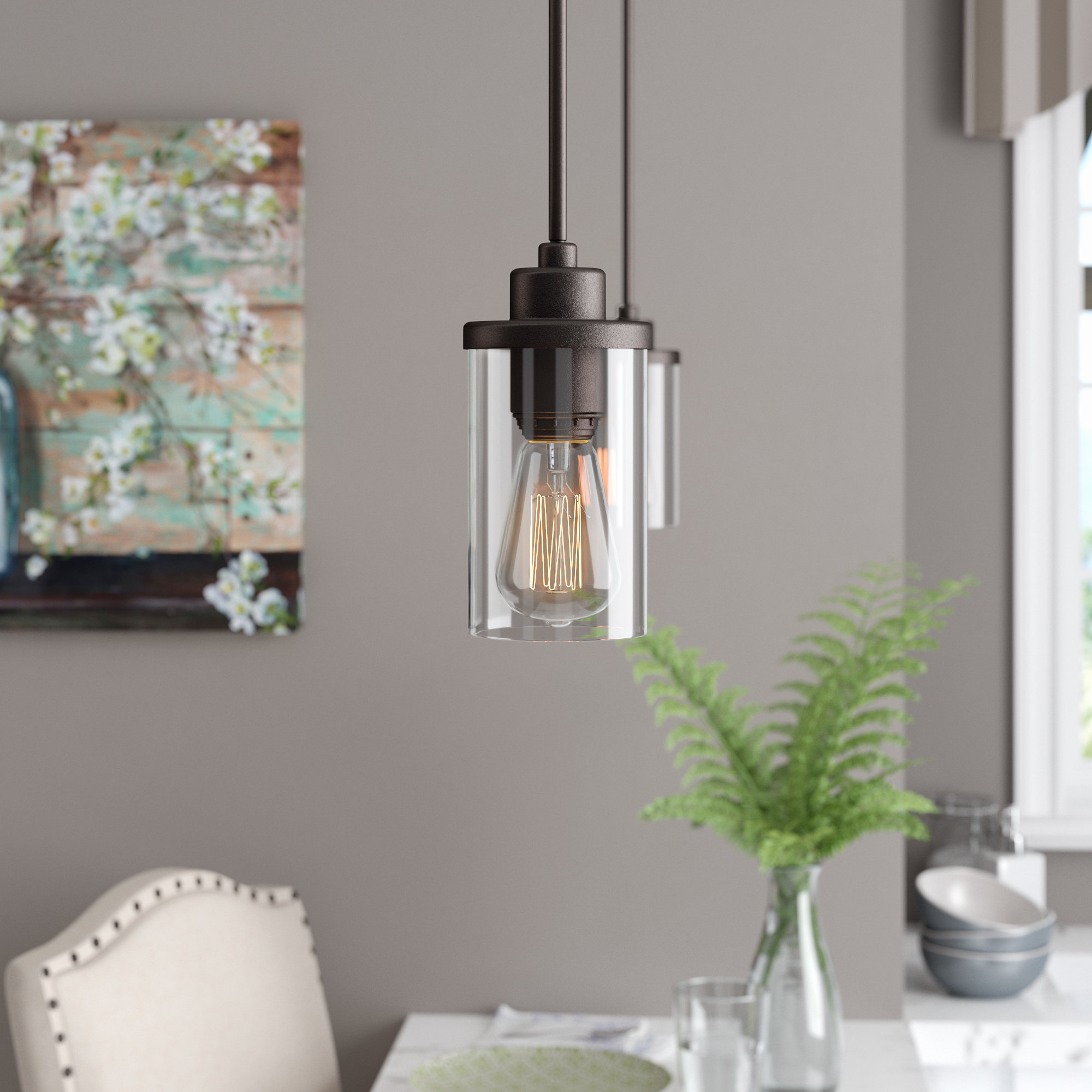 Angelina 1 Light Single Cylinder Pendants For Well Known Florine 1 Light Single Cylinder Pendant (View 6 of 20)