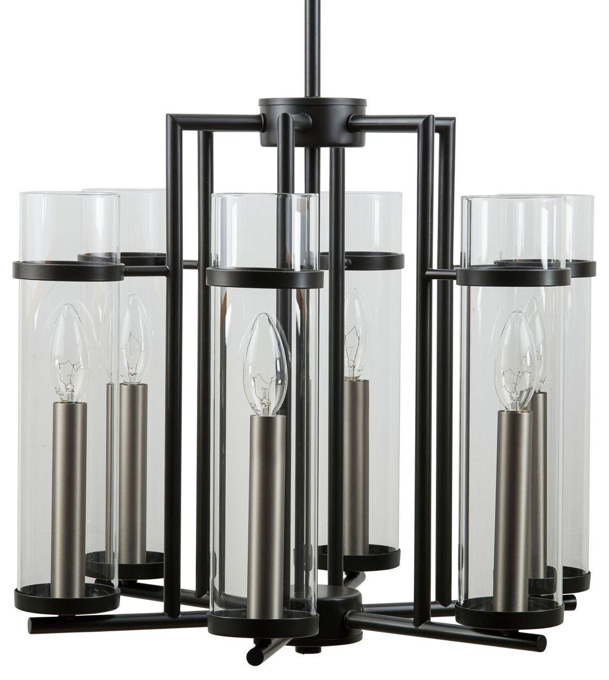 Angelina 1 Light Single Cylinder Pendants Intended For Well Known Chiara 6 Light Contemporary Chandelier – Black W/brushed (View 9 of 20)
