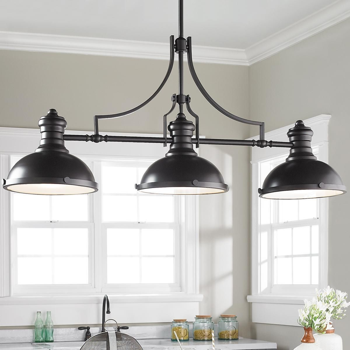 Ariel 2 Light Kitchen Island Dome Pendants Intended For Most Current Craftsman Period Island Chandelier – 3 Light (Gallery 10 of 20)