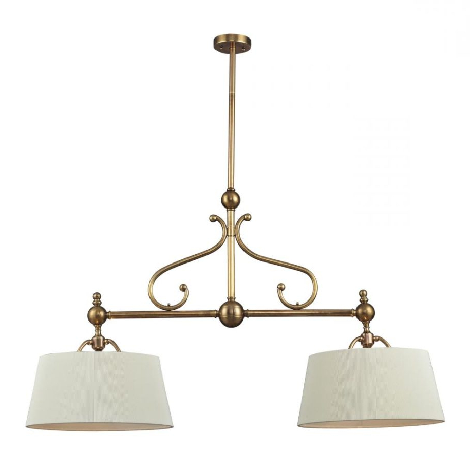 Ariel 2 Light Kitchen Island Dome Pendants Within Most Popular Two Light Brass And Steel Shade Island G2Cn Pendant (View 9 of 20)