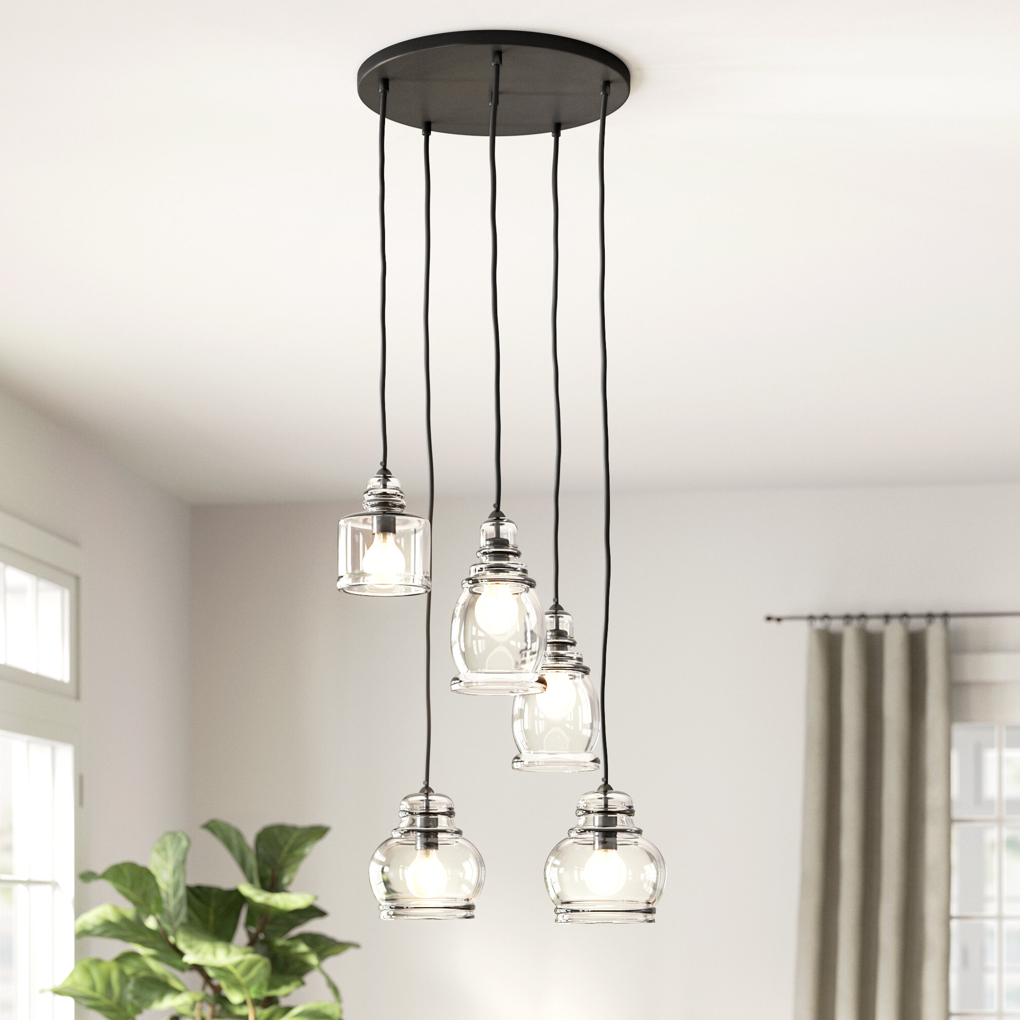 Ariel 3 Light Kitchen Island Dome Pendants In Most Up To Date 5 Light Cluster Bell Pendant (View 6 of 20)
