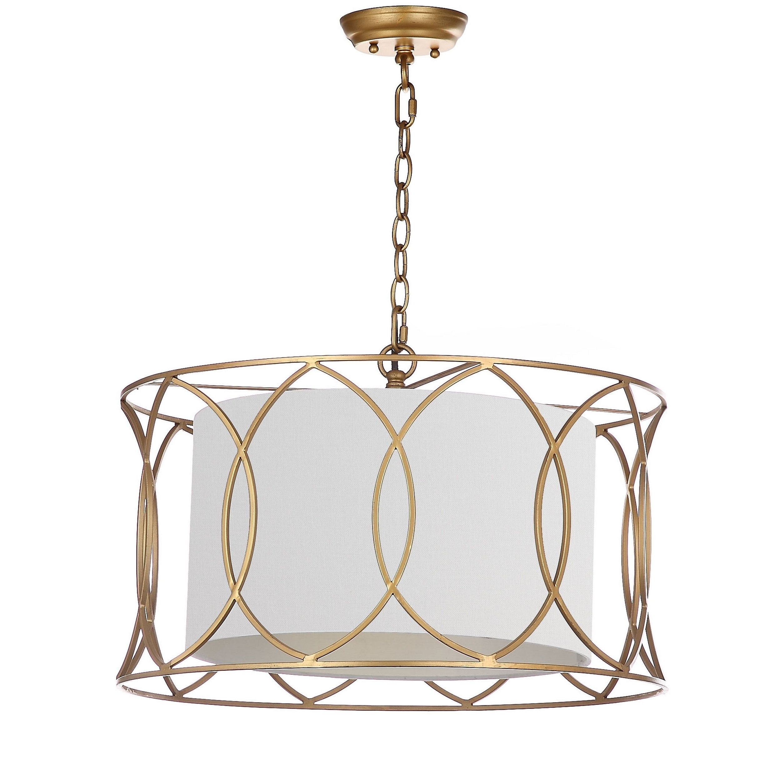 Armande 3 Light Lantern Geometric Pendants Regarding Most Current Safavieh Lighting Silas Gold Adjustable Pendant Lamp (View 4 of 20)