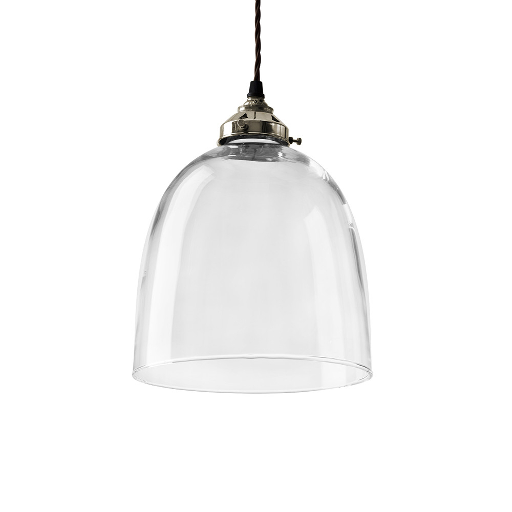 Blown Glass Bell Pendant – Nickel – Large In Well Known Amara 2 Light Dome Pendants (View 9 of 20)