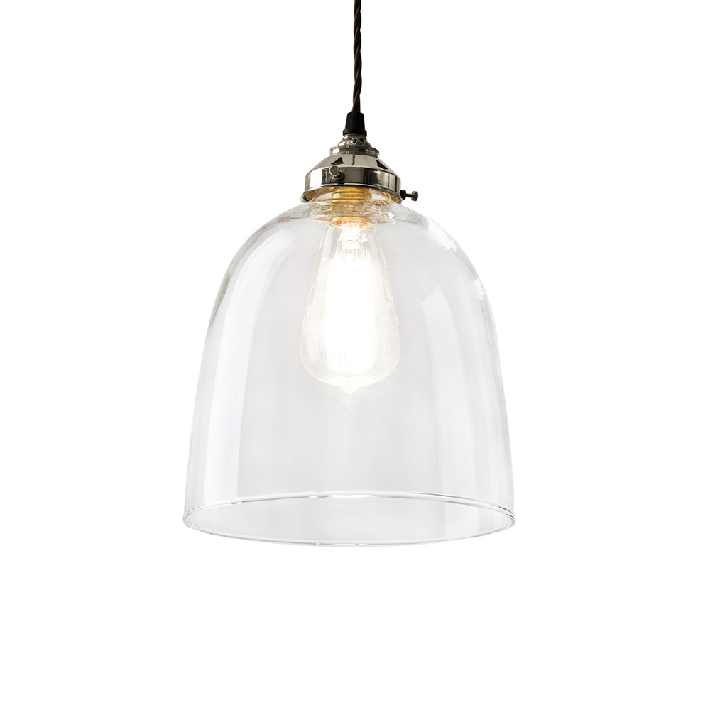 Blown Glass Bell Pendant – Nickel – Large Intended For Most Up To Date Amara 3 Light Dome Pendants (View 11 of 20)