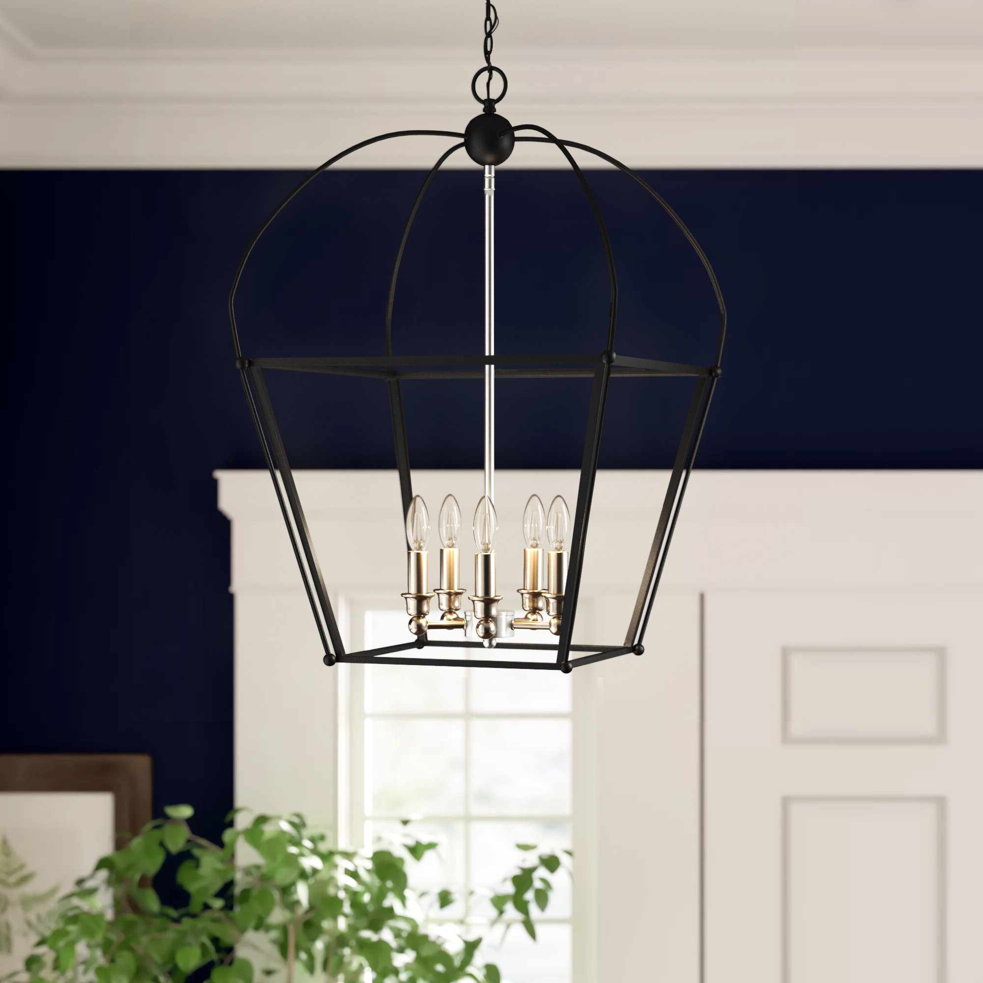 Current Armande 3 Light Lantern Geometric Pendants In Merry 5 Light Lantern Geometric Pendant (View 9 of 20)