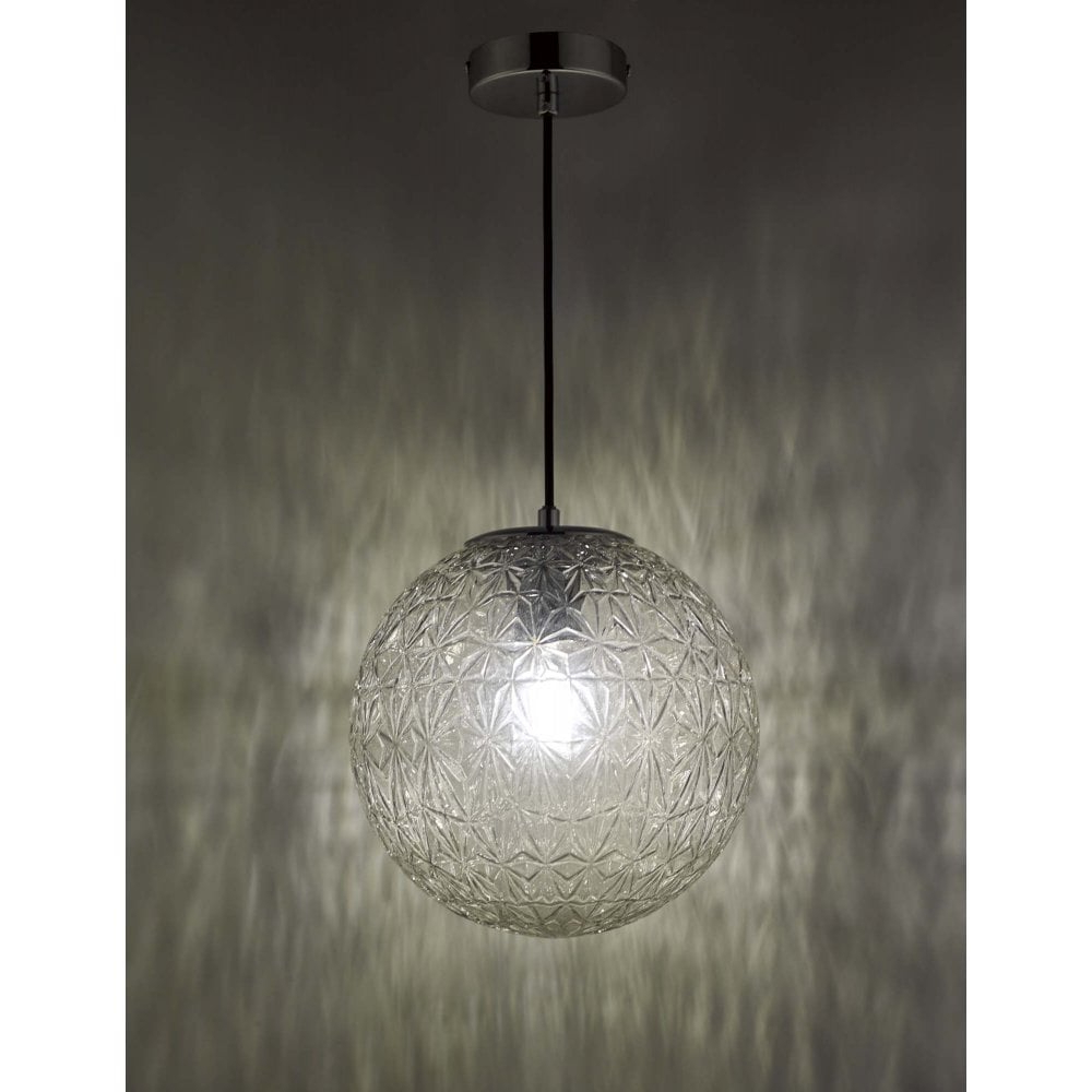 Current Ossian 1 Light Pendant Polished Chrome And Clear Glass Small Inside 1 Light Geometric Globe Pendants (View 15 of 20)