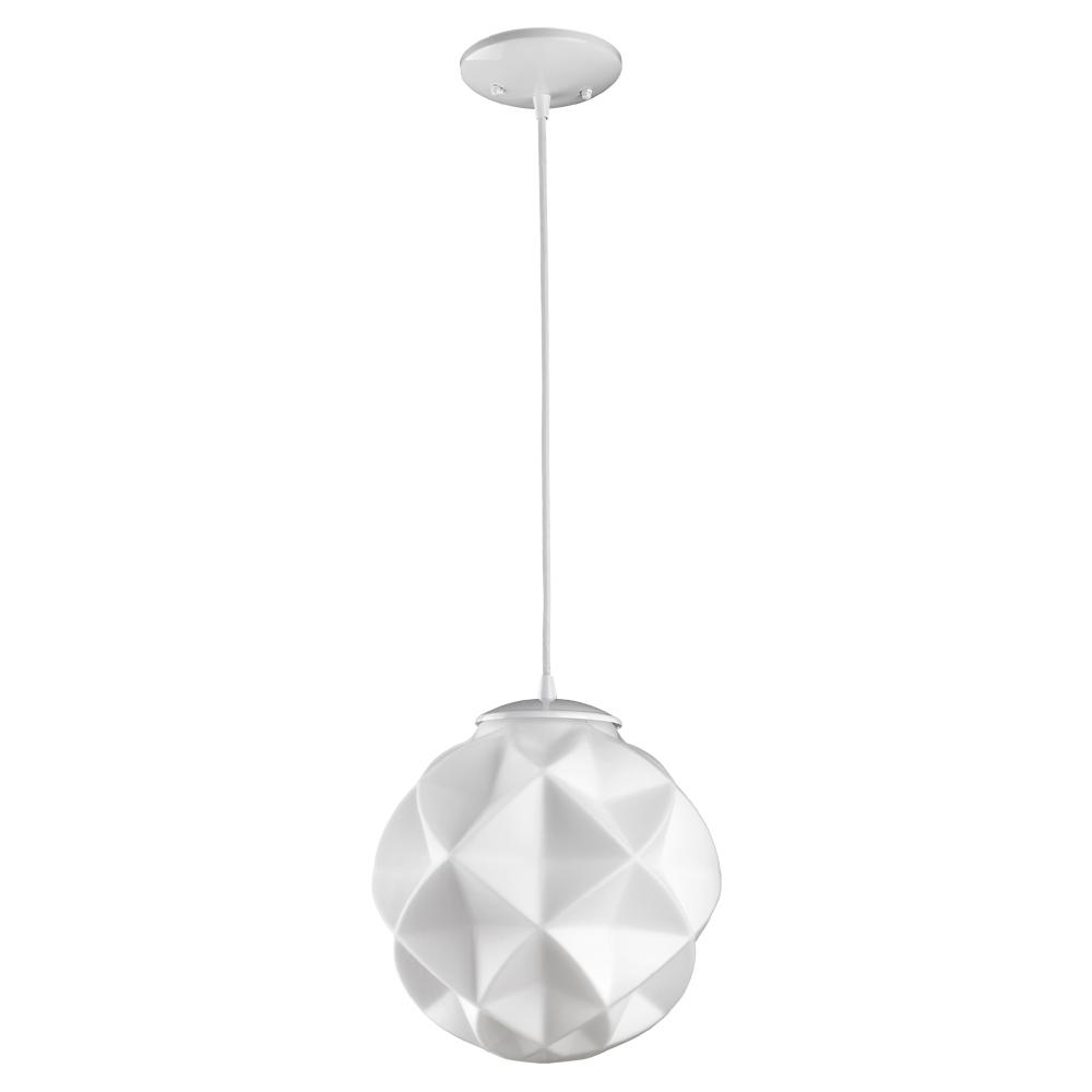 Fashionable 1 Light Geometric Globe Pendants With Regard To Acclaim Lighting Nova 1 Light White Mini Pendant With Geometric Globe Shade (Gallery 7 of 20)