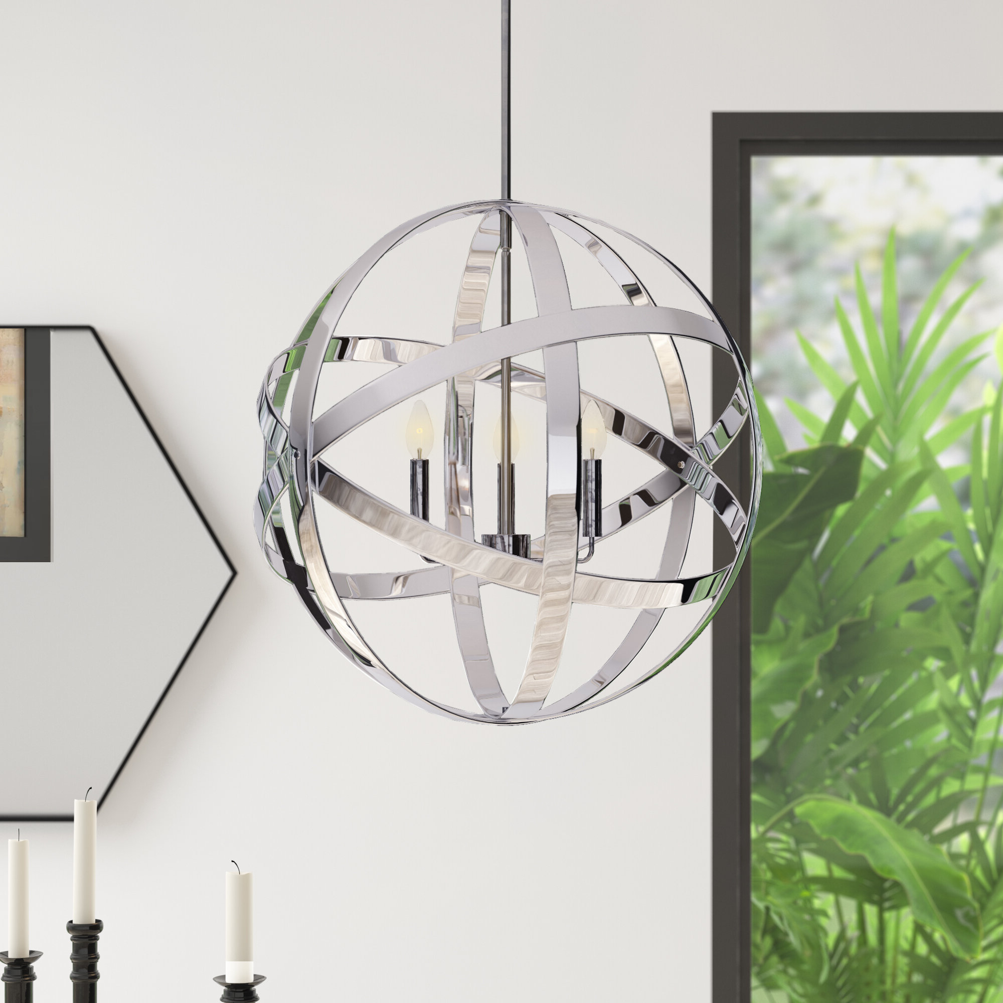 Fashionable Curcio 3 Light Globe Chandelier Throughout Adcock 3 Light Single Globe Pendants (View 11 of 20)
