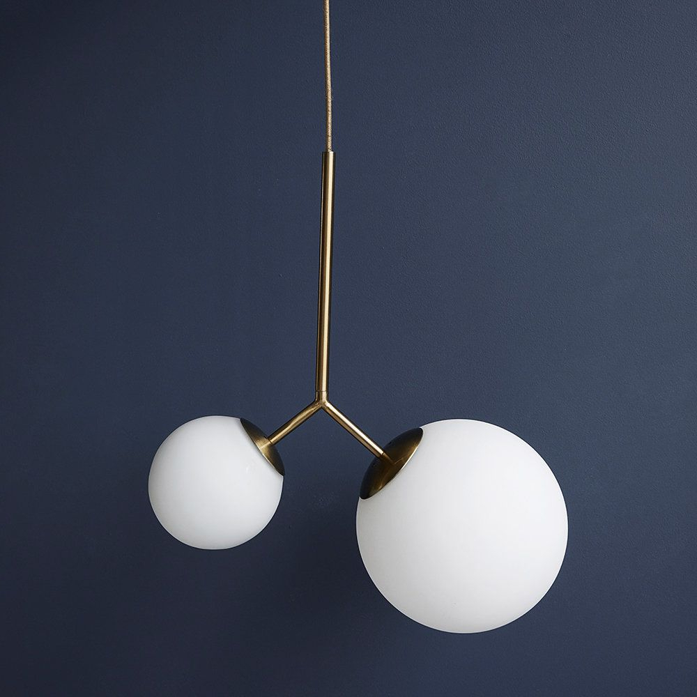 Latest Amara 2 Light Dome Pendants With Regard To Twice Ceiling Lamp – White/brass (View 13 of 20)
