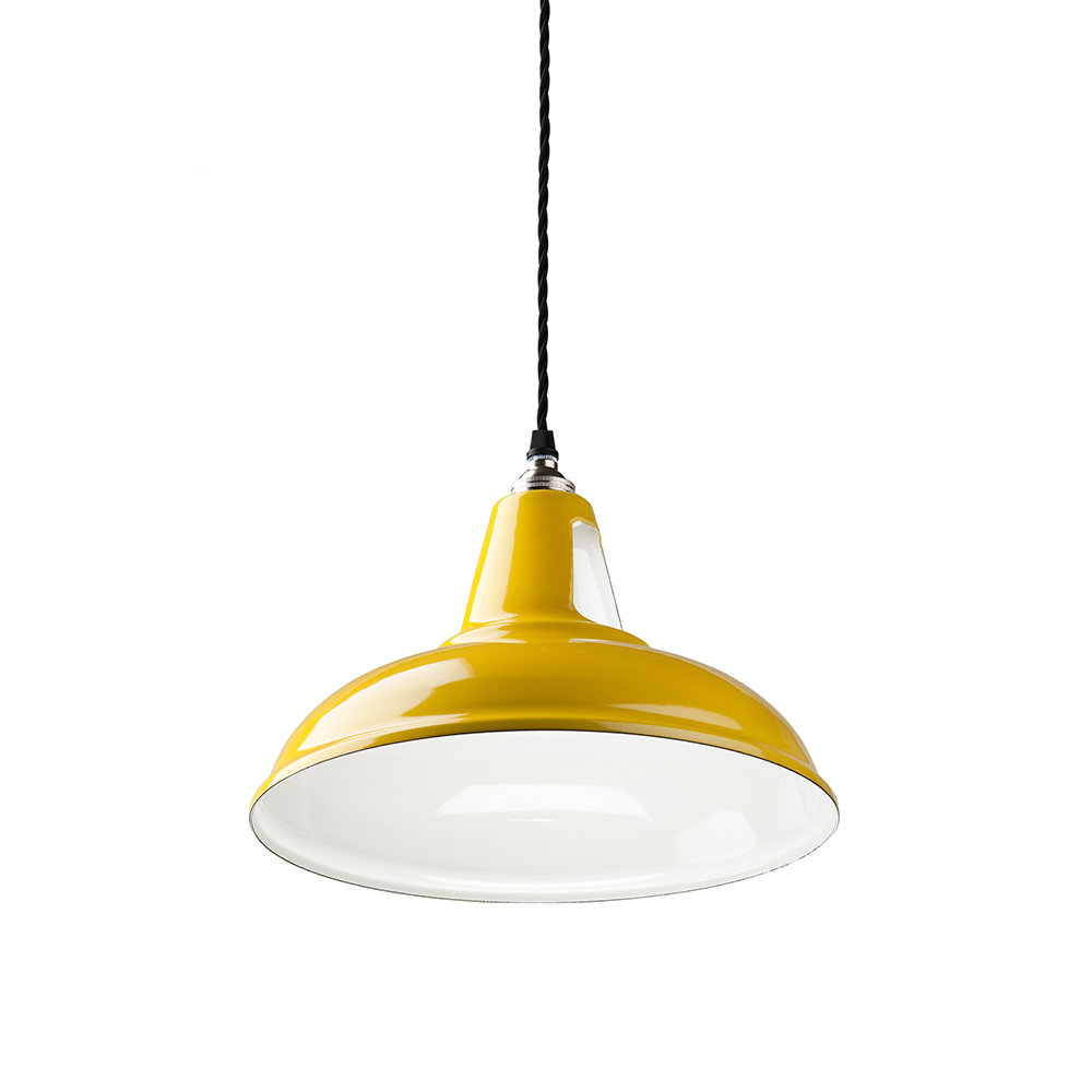 Latest British Spun Steel Factory Pendant – Yellow In Amara 3 Light Dome Pendants (View 13 of 20)
