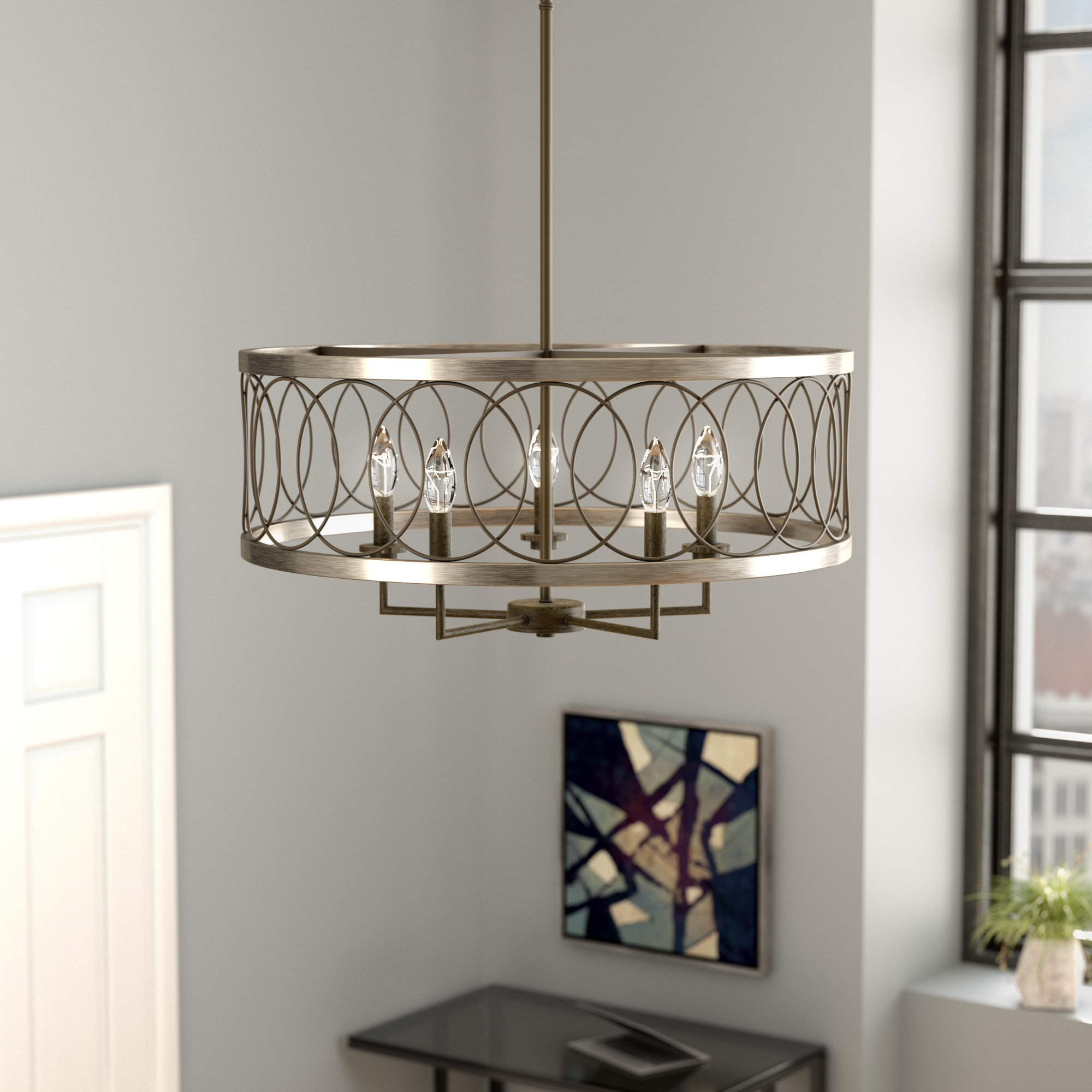 Most Popular Laurel Foundry Modern Farmhouse Denise 4 Light Lantern Drum With Regard To Armande 4 Light Lantern Drum Pendants (View 13 of 20)