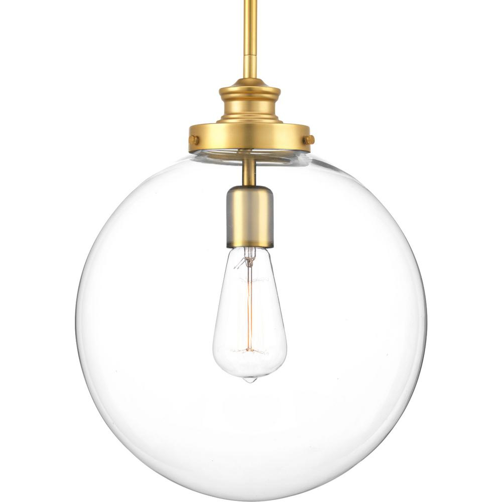 Newest 1 Light Globe Pendants Pertaining To Progress Lighting Penn 1 Light Natural Brass Large Pendant With Clear Glass (View 12 of 20)