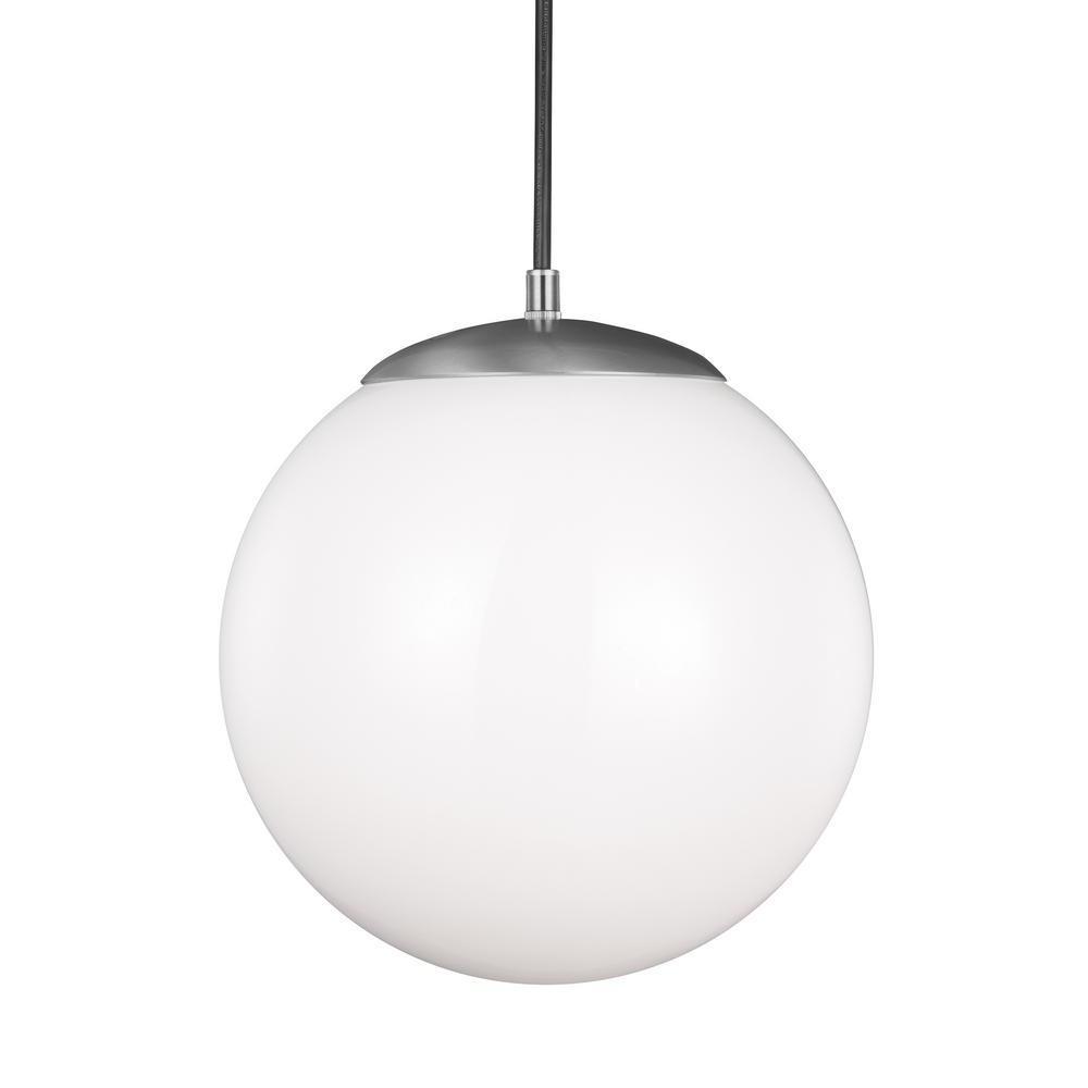 Newest 1 Light Globe Pendants Within Sea Gull Lighting Hanging Globe 1 Light Satin Aluminum Pendant (View 18 of 20)