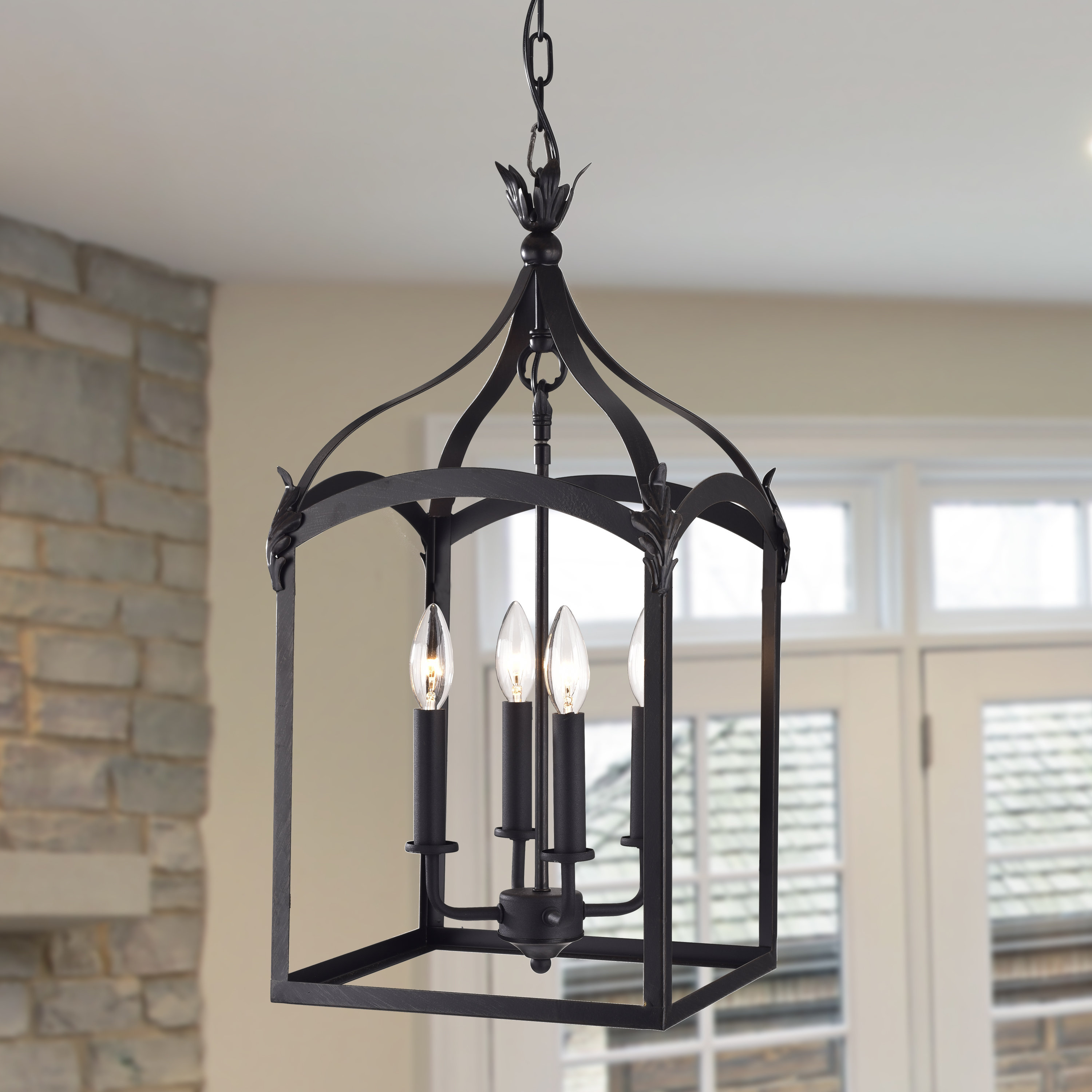 Newest Darby Home Co Forsyth 4 Light Lantern Geometric Pendant Intended For Armande 4 Light Lantern Drum Pendants (Gallery 20 of 20)