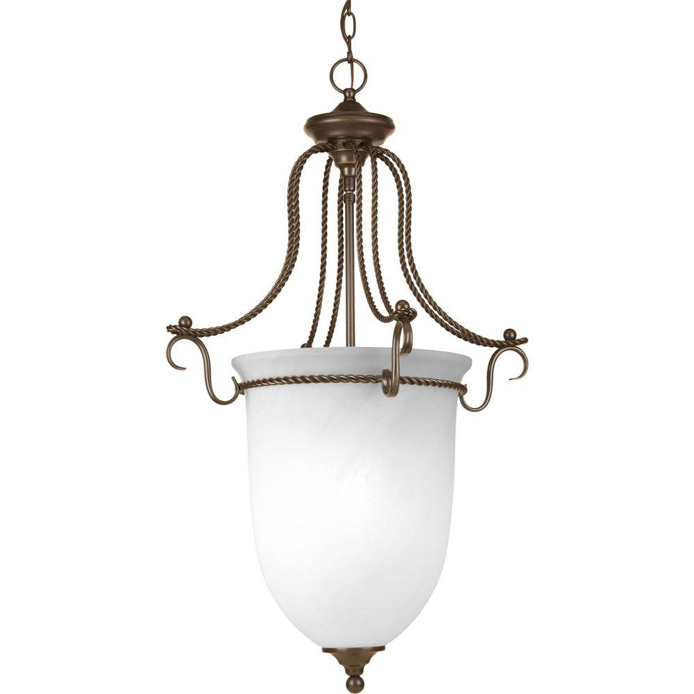Popular Progress Lighting Avalon Collection 3 Light Antique Bronze Foyer Pendant With Alabaster Glass Intended For 3 Light Single Urn Pendants (View 14 of 20)