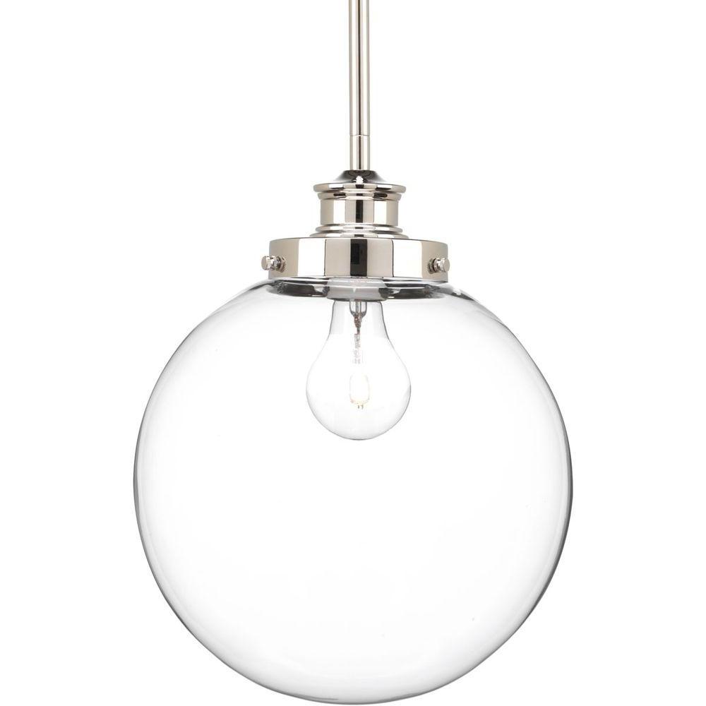 Preferred 1 Light Globe Pendants For Progress Lighting Penn 9.75 In. 1 Light Polished Nickel Pendant With Clear Glass (Gallery 5 of 20)