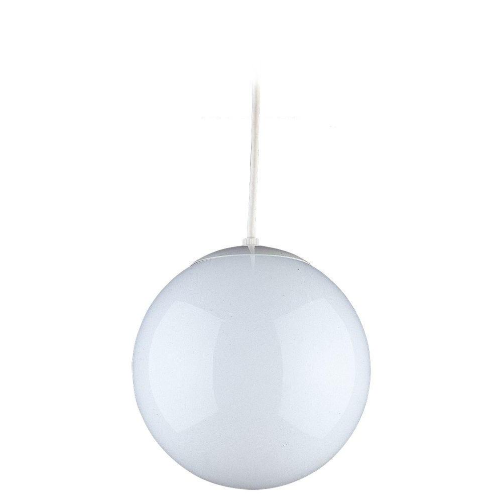 Preferred 1 Light Globe Pendants Regarding Sea Gull Lighting Hanging Globe 1 Light White Pendant (View 13 of 20)