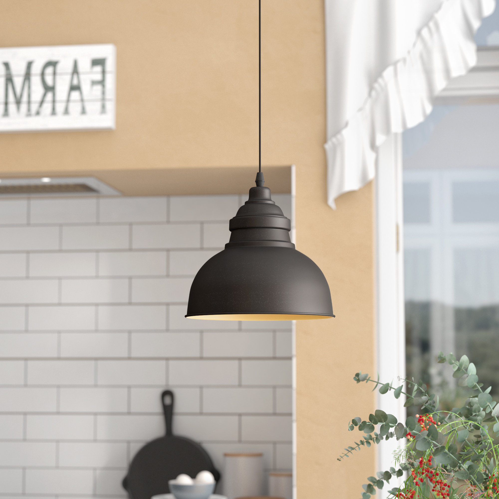Preferred Laurel Foundry Modern Farmhouse Bouvet 1 Light Single Dome With Regard To Adriana Black 1 Light Single Dome Pendants (View 6 of 20)