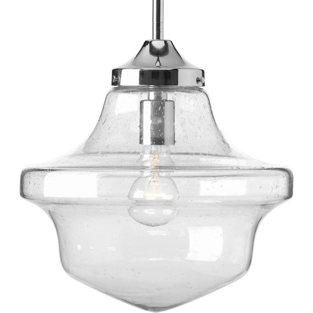 Progress Lighting Schoolhouse Collection 1 Light Chrome Pendant Intended For Famous 1 Light Single Schoolhouse Pendants (View 17 of 20)