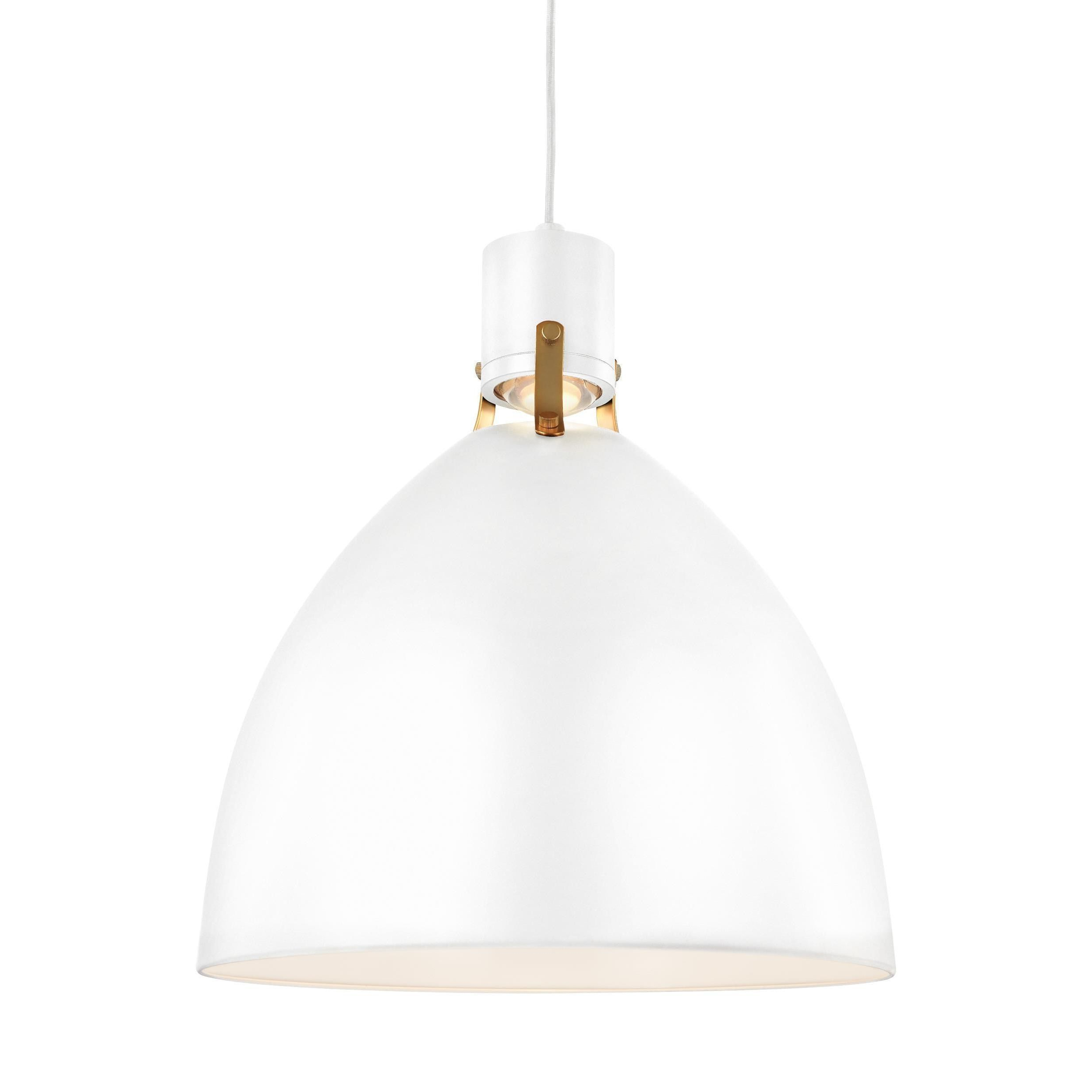 Well Known Adriana Black 1 Light Single Dome Pendants With Feiss Brynne 1 Light Flat White Pendant In (View 13 of 20)