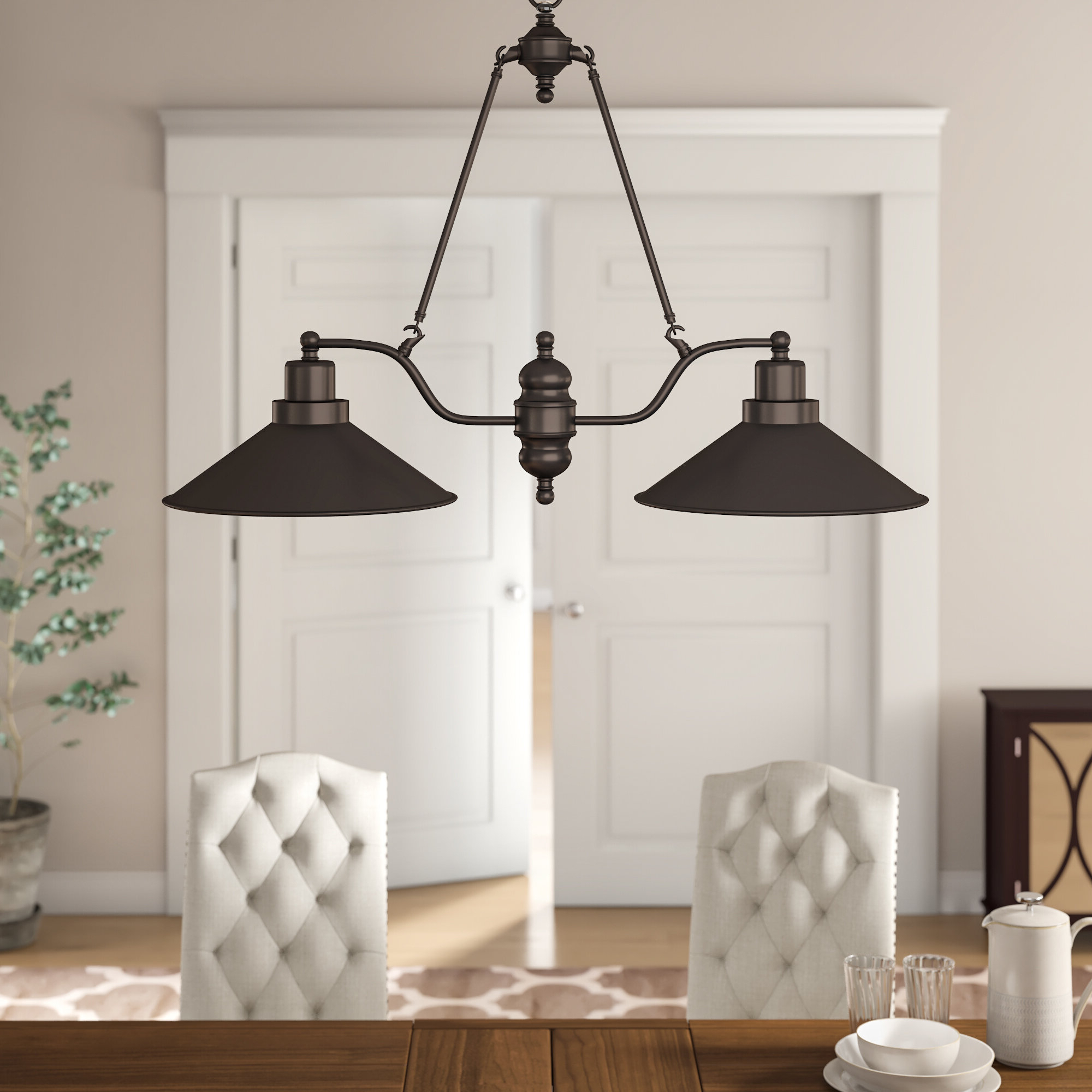 Well Known Ariel 2 Light Kitchen Island Dome Pendants In Trent Austin Design Euclid 2 Light Kitchen Island Linear Pendant (View 20 of 20)
