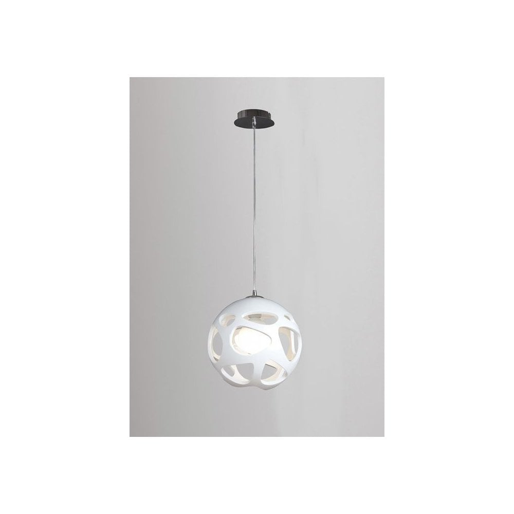 Well Known M5144 Organica 1 Light Globe Pendant White And Chrome With Regard To 1 Light Globe Pendants (View 17 of 20)