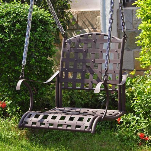 Featured Photo of 1 Person Antique Black Iron Outdoor Swings