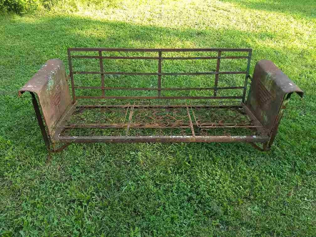 1 Person Antique Black Steel Outdoor Gliders With Well Known Vintage Metal Porch Glider Needs Cushions Spring Seat Rusty (View 14 of 20)