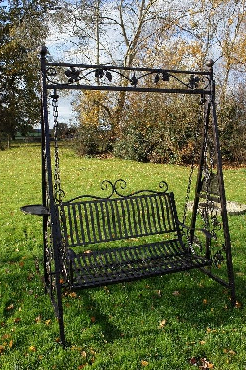 "2 Person Antique Black Iron Outdoor Swings Pertaining To Well Known Swinging Sixties"" From Grannie Kates Vintage Collection (View 2 of 20)"