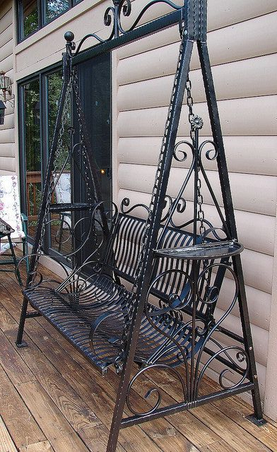 2 Person Antique Black Iron Outdoor Swings With Most Recently Released Handmade Victorian Porch Swing. Would Be Very Cute With Some (Gallery 7 of 20)
