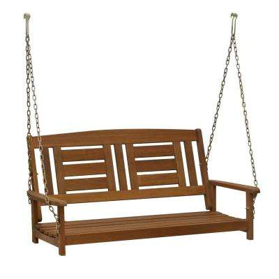 2 Person Black Steel Outdoor Swings For Current Tioman 2 Person Wood Porch Swing (View 1 of 20)