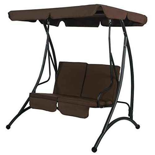 2 Person Black Steel Outdoor Swings With Well Known Sretan 2 Person Canopy Swing Chair Brown Black Polyester (Gallery 5 of 20)