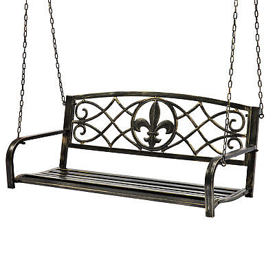2 Person Gray Steel Outdoor Swings Inside 2019 Bcp Outdoor Metal Hanging 2 Person Swing Bench W/ Fleur De Lis Accents (View 12 of 20)