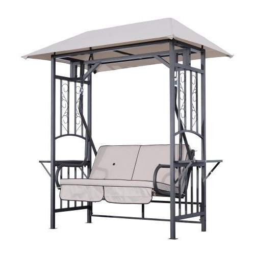 2 Person Gray Steel Outdoor Swings Within Current Outsunny 2 Person Patio Swing Chair W/ Canopy Shade – Beige (View 8 of 20)
