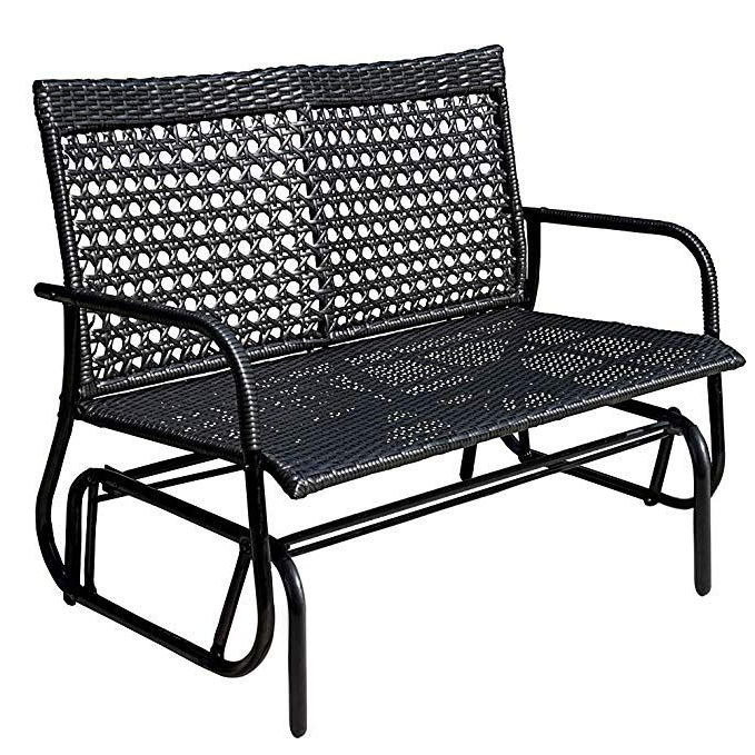 2 Person Loveseat Chair Patio Porch Swings With Rocker Regarding Most Recently Released Amazon : Sundale Outdoor 2 Person Wicker Loveseat Glider (Gallery 7 of 20)