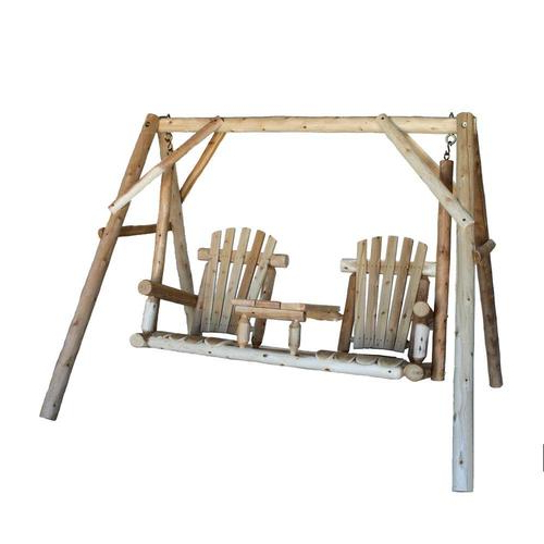 2 Person Natural Cedar Wood Outdoor Swings Regarding Well Known 2 Person Natural Cedar Wood Outdoor Swing (View 4 of 20)
