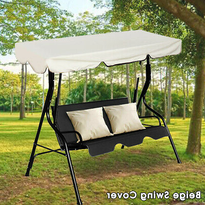 2 Person Outdoor Convertible Canopy Swing Gliders With Removable Cushions Beige Intended For Most Popular Beige 2 Person Canopy Swing Chair Patio Hammock Seat (View 18 of 20)