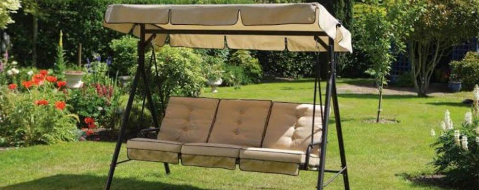 2 Person Outdoor Convertible Canopy Swing Gliders With Removable Cushions Beige With Regard To 2019 Best Porch Swing With Canopy 2020  Reviews & Buyer's Guide (Gallery 10 of 20)
