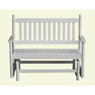 2 Person White Wood Outdoor Patio Glider 204Gsw Rta (Gallery 2 of 20)
