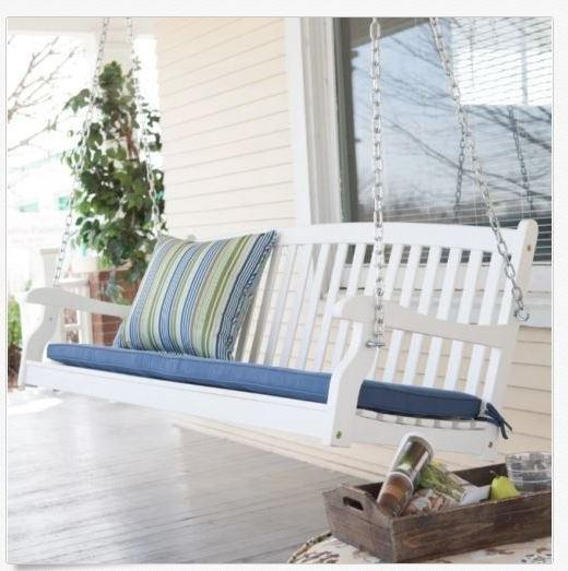 2 Person White Wood Outdoor Swings Within Latest Patio & Garden Furniture 4 Ft Porch Swing 2 Person Bench (Gallery 10 of 20)