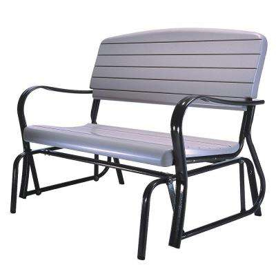 2019 1 Person Antique Black Steel Outdoor Gliders For Outdoor Patio Glider Bench (View 12 of 20)