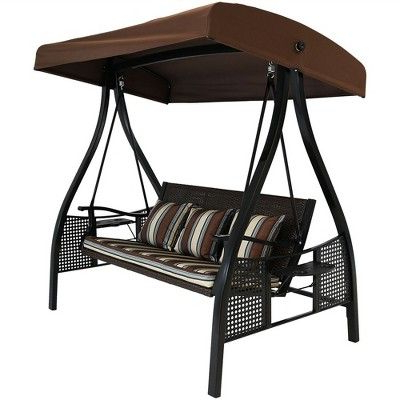 2019 3 Person Brown Steel Outdoor Swings With Regard To Deluxe Steel Frame Cushioned Swing With Side Tables – Brown (View 10 of 20)