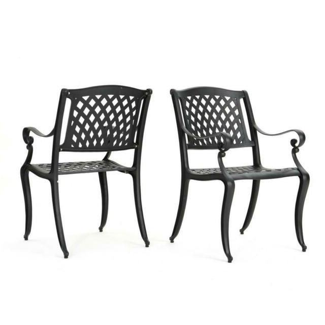 2019 Black Outdoor Durable Steel Frame Patio Swing Glider Bench Chairs In 2 Pack Outdoor Dining Chair Cast Aluminum Backyard Patio Garden Furniture  Black (Gallery 12 of 20)